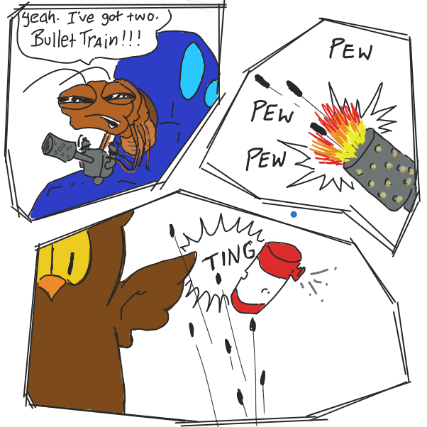 Drawing in Owen Owl vs Caleb Cockroach by WizardCroissant
