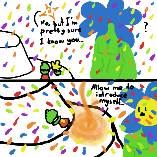 A new super strong character flies in, strong enough to repel all this rain! - Online Drawing Game Comic Strip Panel by ItzAki