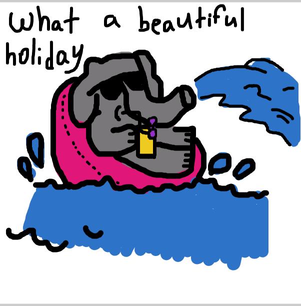 Drawing in Eddie Elephant in his swimming pool armchair by SteliosPapas