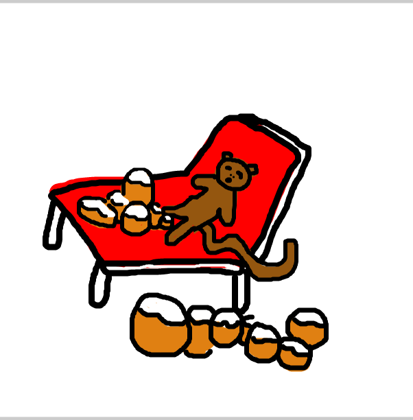 Drawing in Sleeping monkey with donuts by SteliosPapas