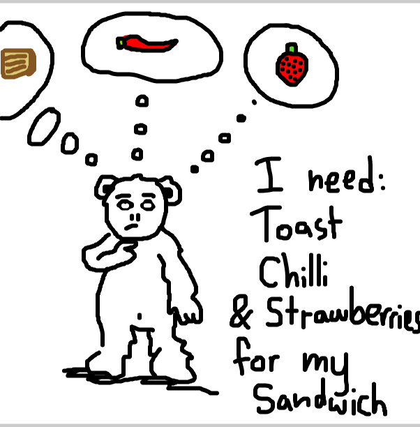 Drawing in Boris Bear thinks of the things for his sandwich by SteliosPapas