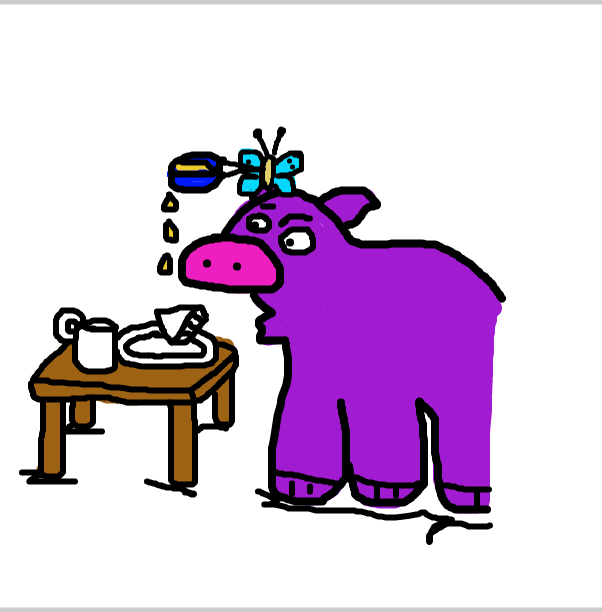 First panel in Breakfast time for Henry Hippo and Betsy Butterfly drawn in our free online drawing game