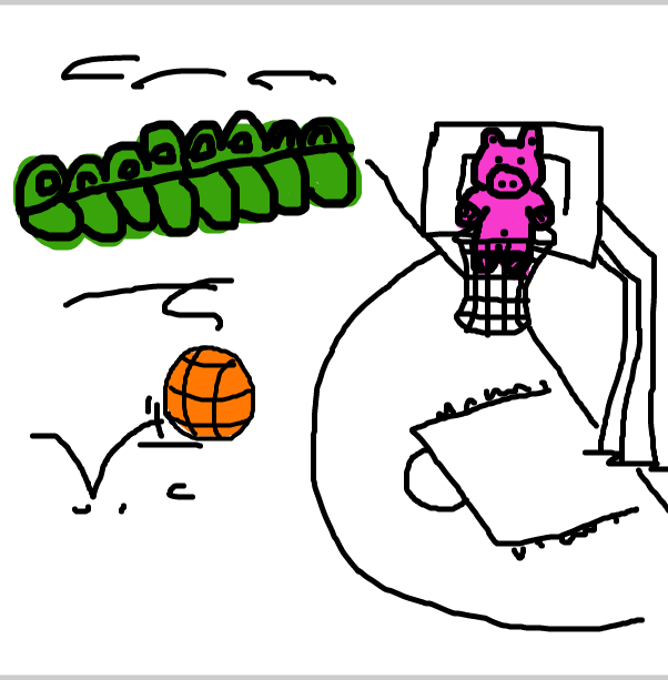 Drawing in Perry Pig stuck in a basketball net by SteliosPapas