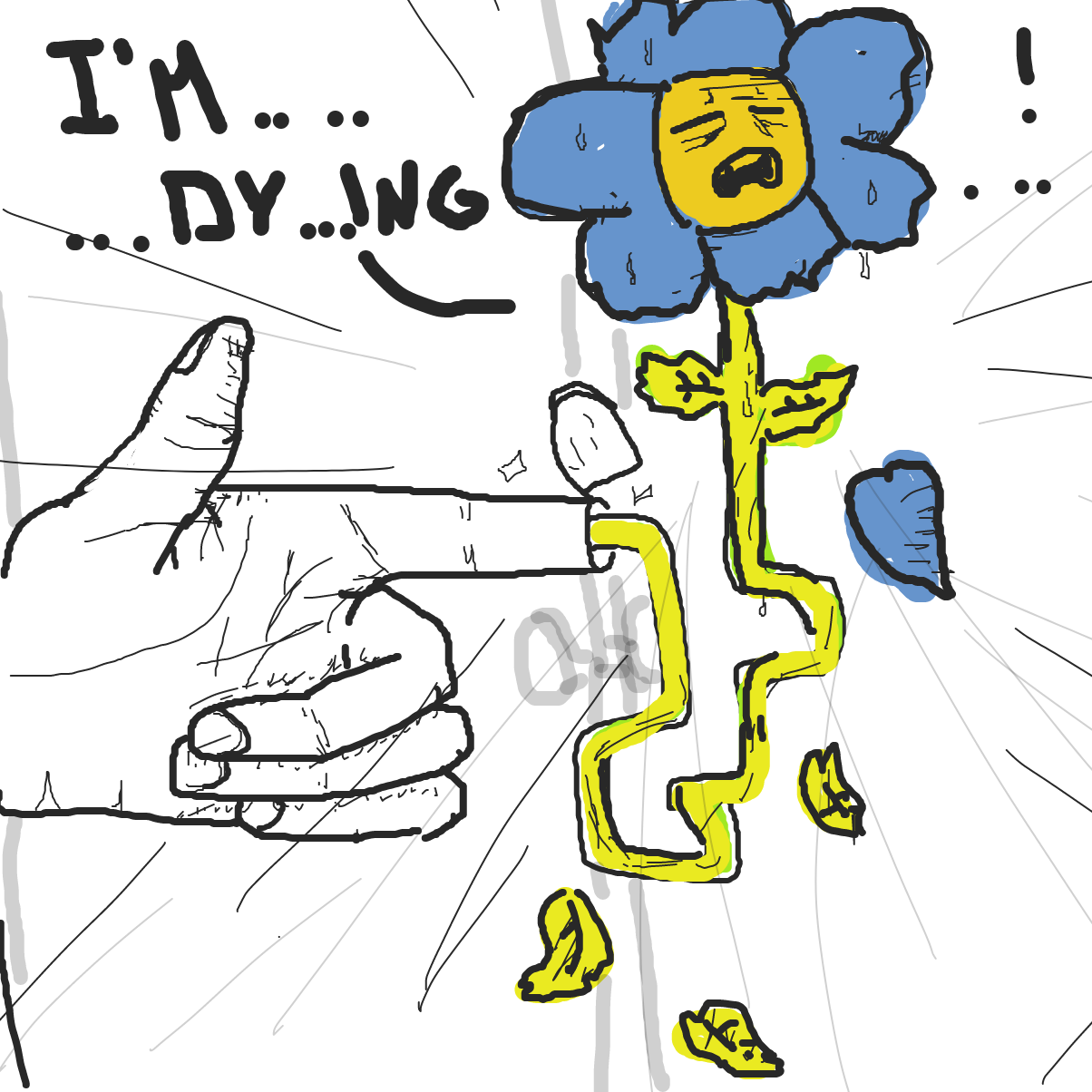 flower is dying - Online Drawing Game Comic Strip Panel by Eekcarlos