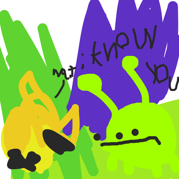 The weird head thingies meet a friend from somewhere else. - Online Drawing Game Comic Strip Panel by rare_ted