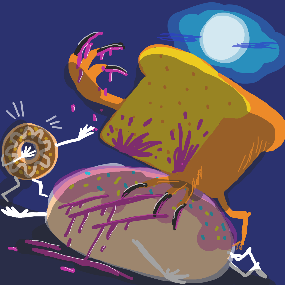 First panel in The Curse of the Were-loaf drawn in our free online drawing game