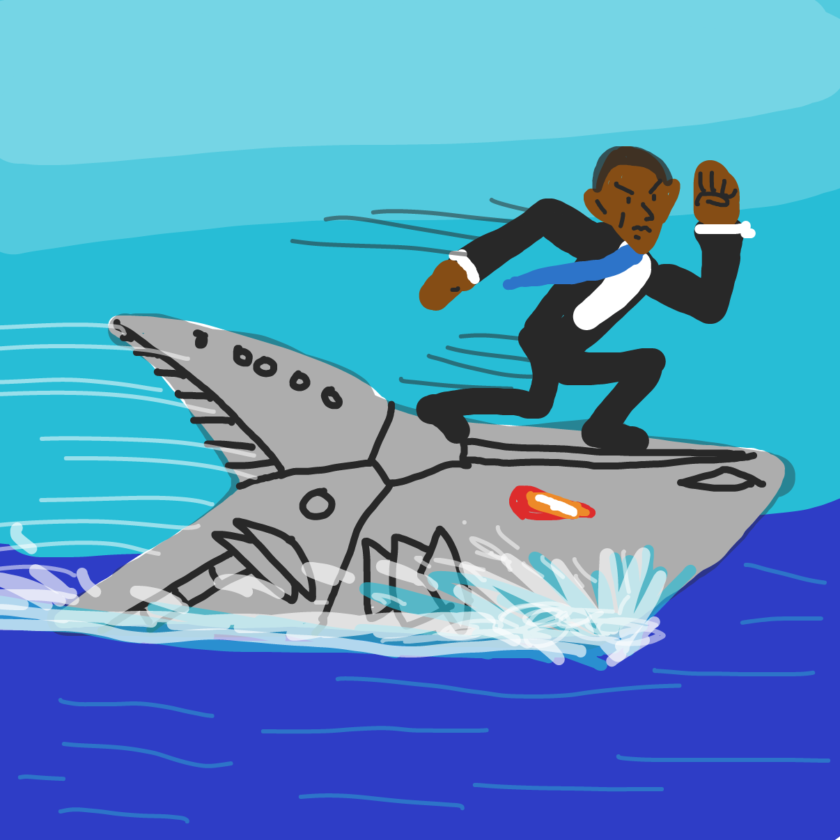 Drawing in Obama and the cyborg shark by bajira