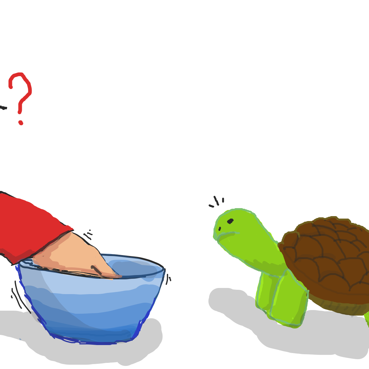 Drawing in Tommy Turtle and his tortilla bowl by Elvin