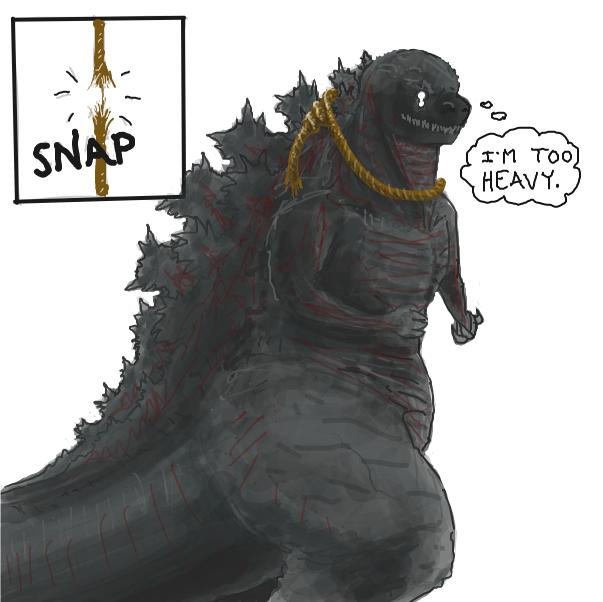 Drawing in Godzilla hanging himself by Buckawn