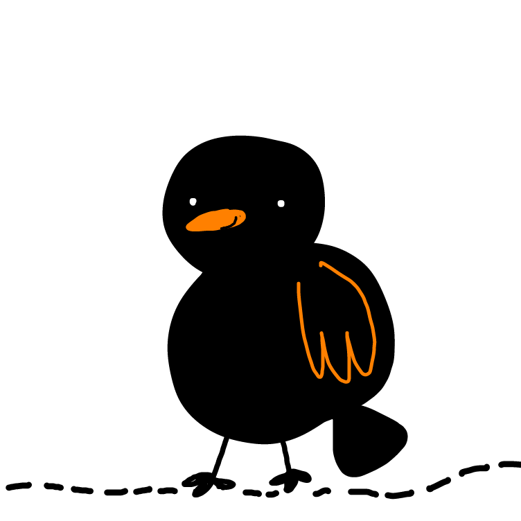 First panel in black bird drawn in our free online drawing game