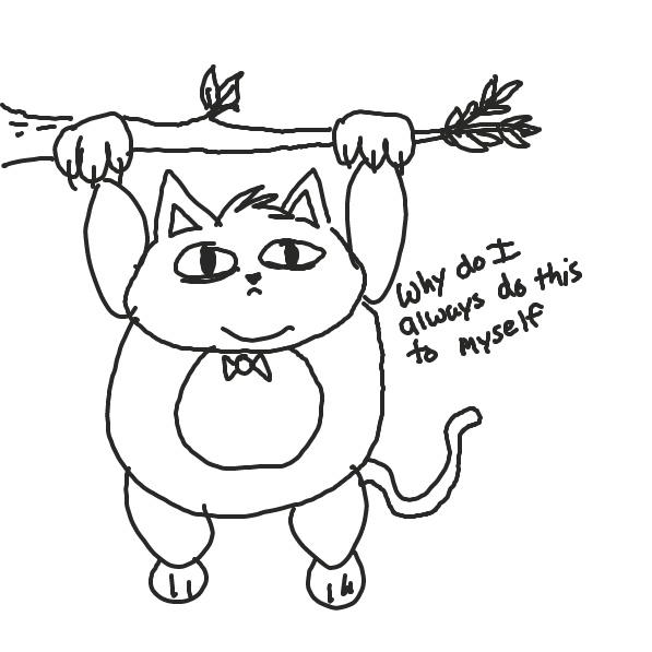 First panel in A cat stuck in a tree drawn in our free online drawing game