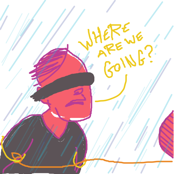Blindfolded and dragged through the rain... - Online Drawing Game Comic Strip Panel by jamdaddy