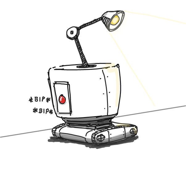 First panel in Robots drawn in our free online drawing game