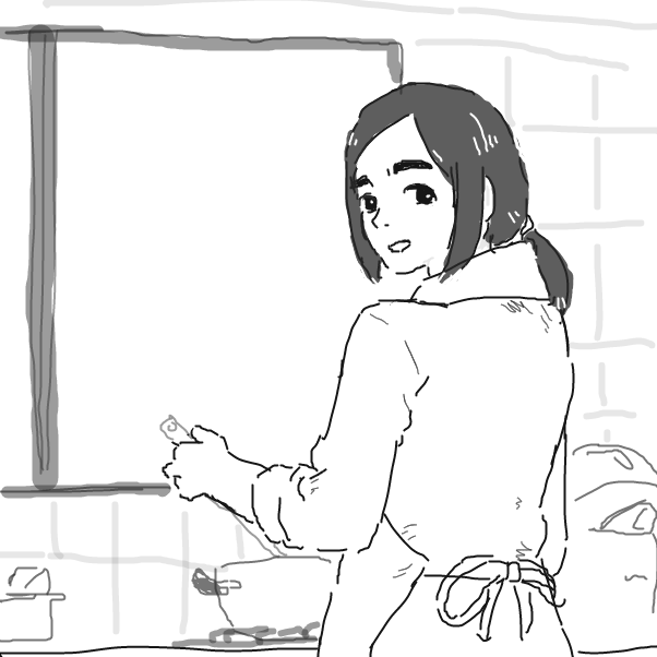 First panel in cooking drawn in our free online drawing game