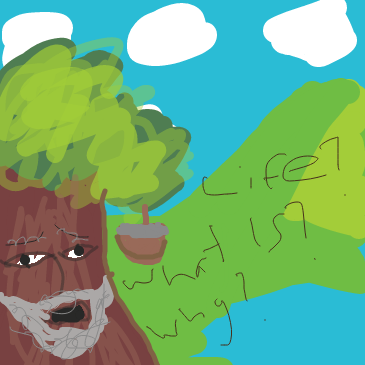 First panel in Old oak tree contemplating life drawn in our free online drawing game