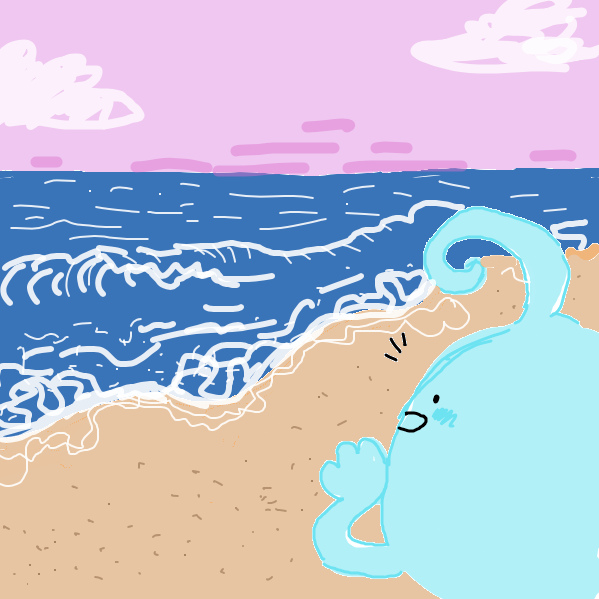 he looks at the ocean - Online Drawing Game Comic Strip Panel by daisy key chain