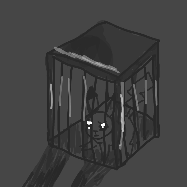 Pikachu is traped in cage and person's shadow is seen - Online Drawing Game Comic Strip Panel by Lussy156cz