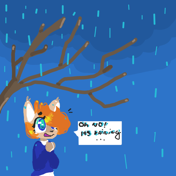 """""""Furry female is walking around a tree without branches, in that moment. . . Sky has decided that will rain, continue reaction of the Furry female girl!""""  - Online Drawing Game Comic Strip Panel by cicinkaaa"""