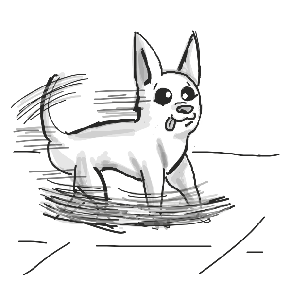There once was a chihuahua, who would walk fast with his skittish legs.  - Online Drawing Game Comic Strip Panel by Loco-L