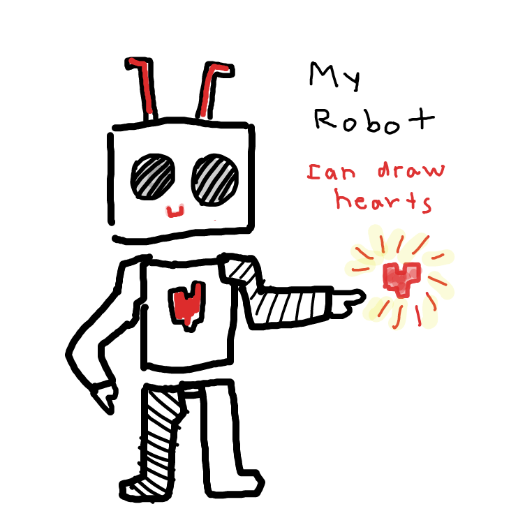First panel in draw your robot drawn in our free online drawing game