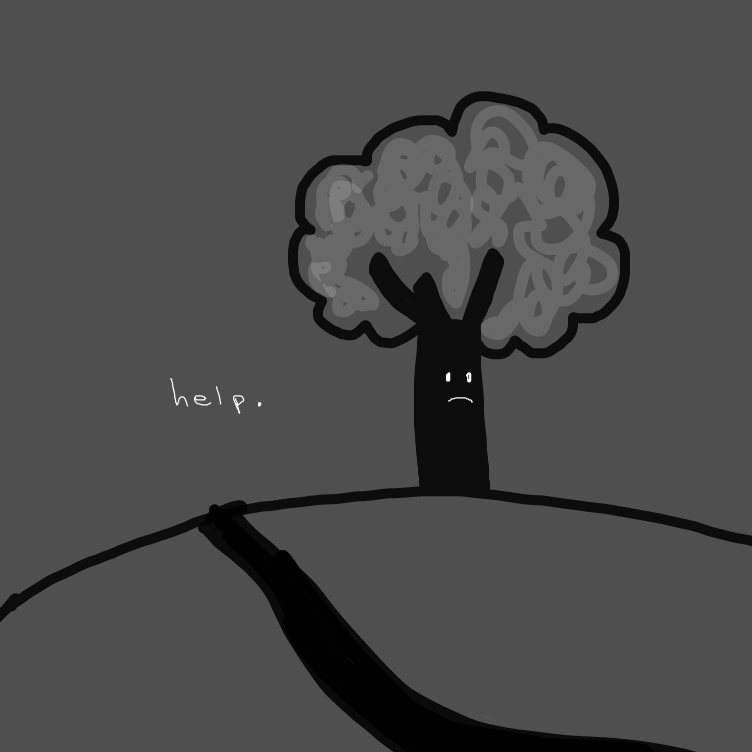 First panel in The lonely tree drawn in our free online drawing game
