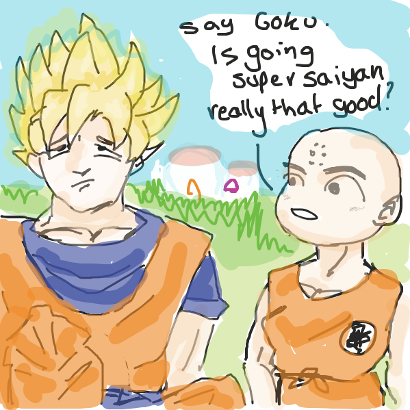 course it is Krillin u weak dumb fuck. also i cant remember what gokus house looks like - Online Drawing Game Comic Strip Panel by Mojomos