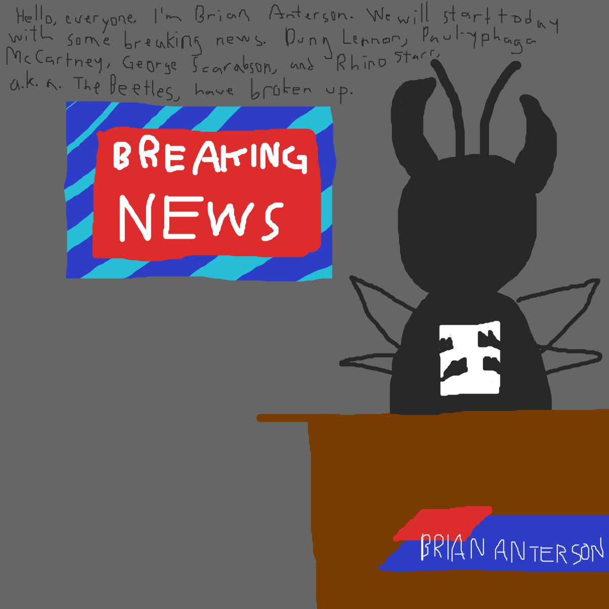 First panel in Original Pun that has never been made before drawn in our free online drawing game