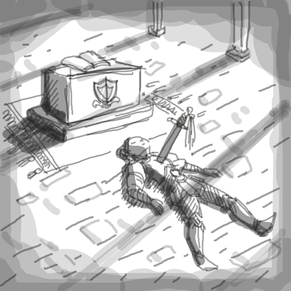 perspective is difficult lmao. here's my first ever panel here, some random knight type dude chilling on the cobbled ground with a sword right up there in him. - Online Drawing Game Comic Strip Panel by tiniest_punk