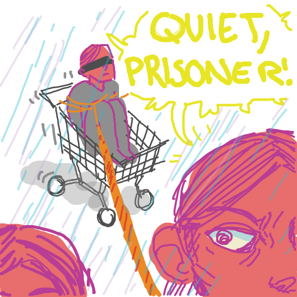 an ambiguous group of people drag a man in a trolley through the rain - Online Drawing Game Comic Strip Panel by tiniest_punk