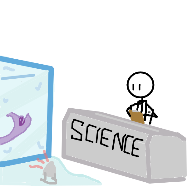 Scientists are attempting to free the creature. - Online Drawing Game Comic Strip Panel by Sgt_Pugsly