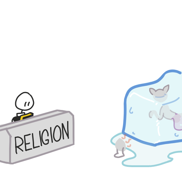 silly scientists, you can't do anything without religion getting involved! - Online Drawing Game Comic Strip Panel by Cake Emoji