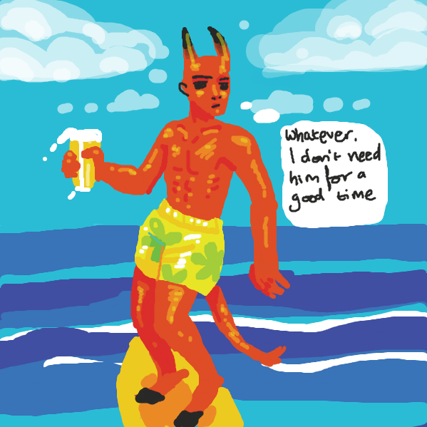 the demon goes for a surf to take his mind off the issue - Online Drawing Game Comic Strip Panel by tiniest_punk