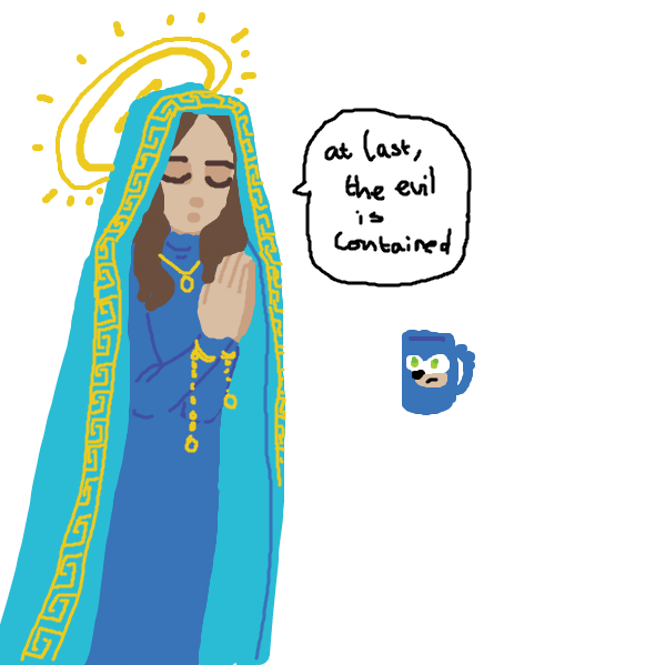 a priestess prays over the legless sonic mug, relieved - Online Drawing Game Comic Strip Panel by tiniest_punk