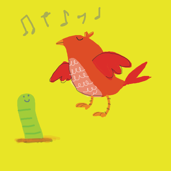 red bird sings a song for green worm early in the morning - Online Drawing Game Comic Strip Panel by cazzy