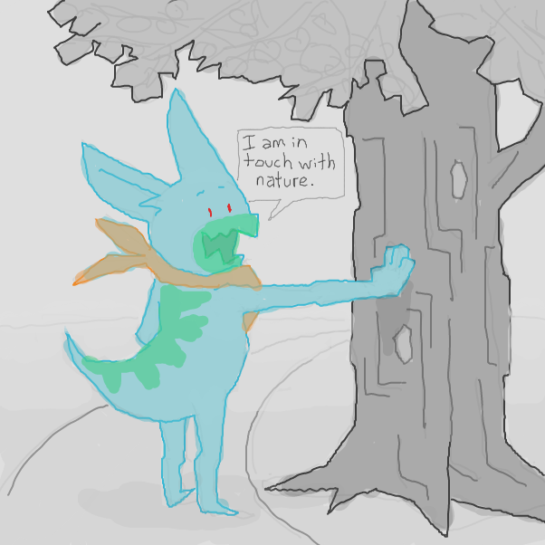 Derren... how do we feel about Derren doing this? huh? how do his actions make us feel? what has he put in motion here? connecting with the wood like this... if he's touched it does that mean it is activated? activated wood?  - Online Drawing Game Comic Strip Panel by Chepley