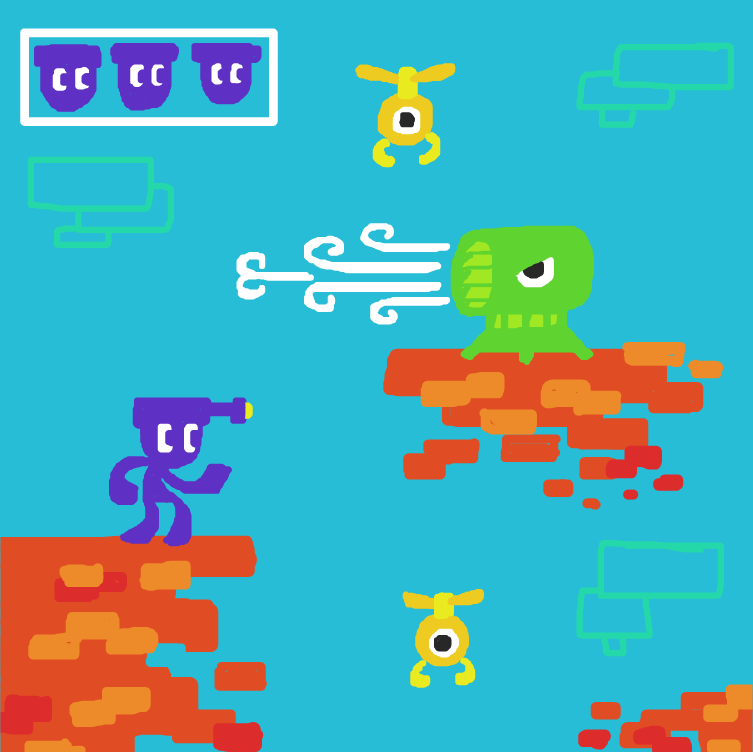 First panel in Shooty Jumpy Boy drawn in our free online drawing game