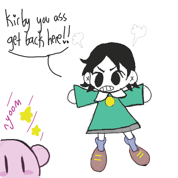 Drawing in kirb by pastelgoosey