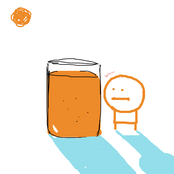 Drawing in My orange juice by nooz