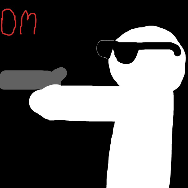 First panel in Gun drawn in our free online drawing game
