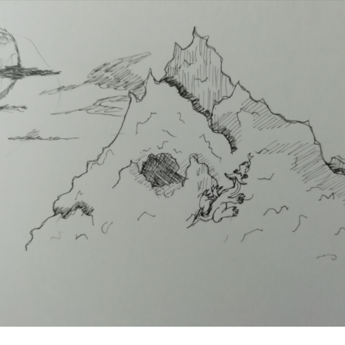 Drawing in Cwimbling Mwountain by Robro