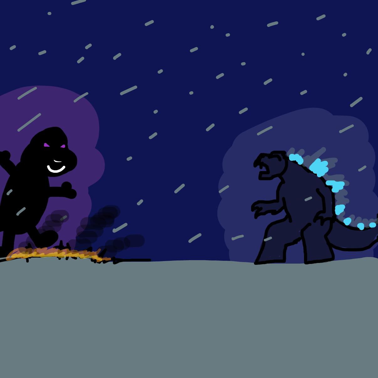 Drawing in Barney vs. Godzilla by bajira