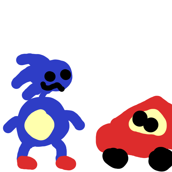 Sanic meets Lightning Mcqueen - Online Drawing Game Comic Strip Panel by TheOctavius8