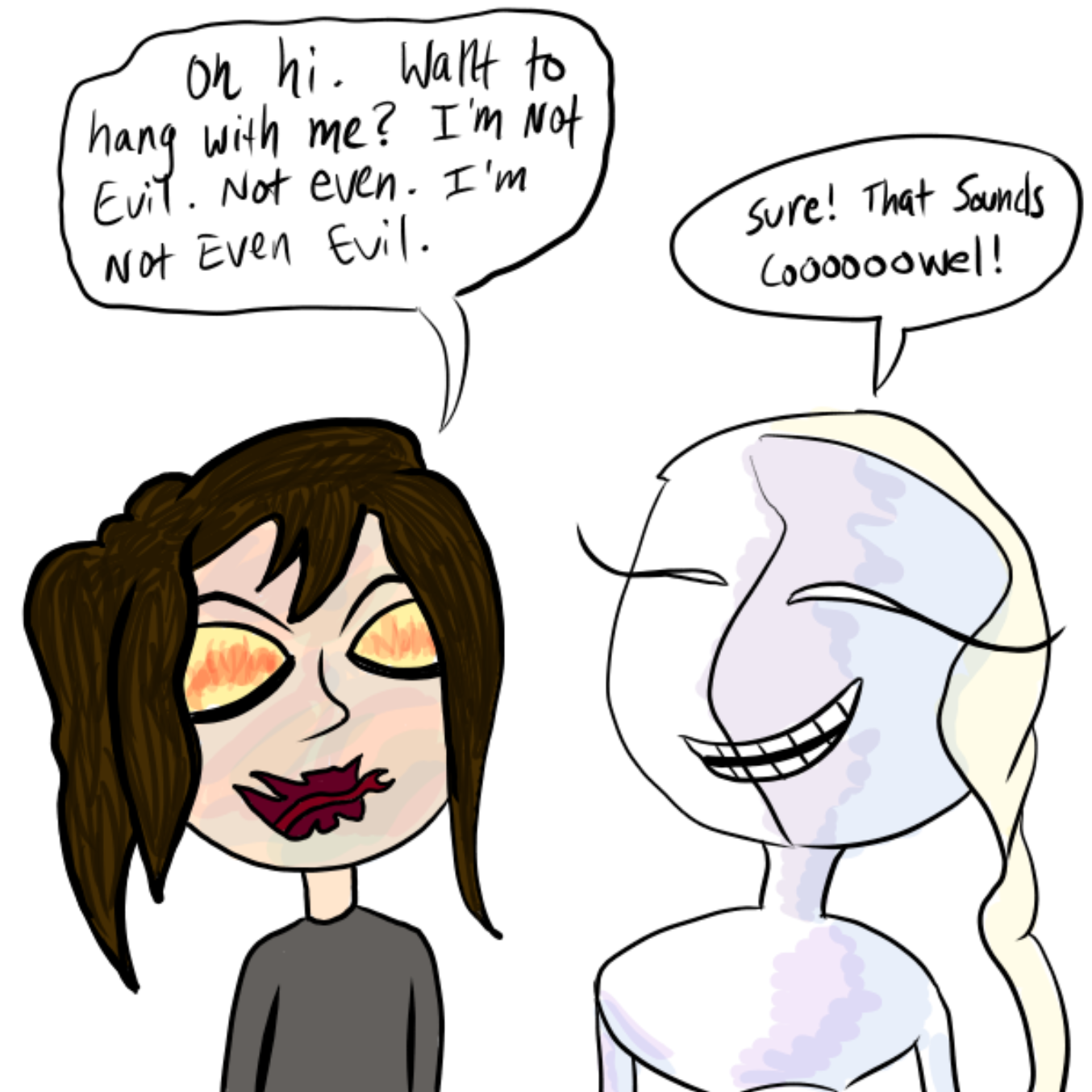 Drawing in saying hi but it ruins by WizardCroissant