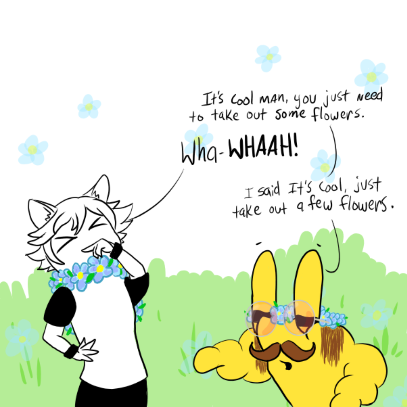 Drawing in flower crowns~ by WizardCroissant