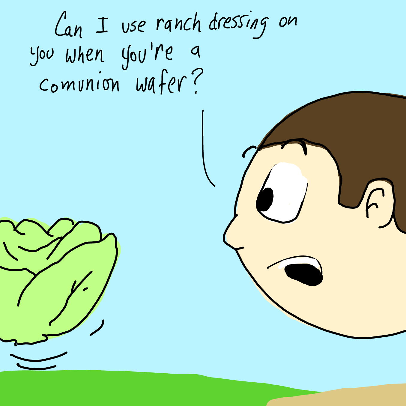 Drawing in Floating Lettuce by WizardCroissant