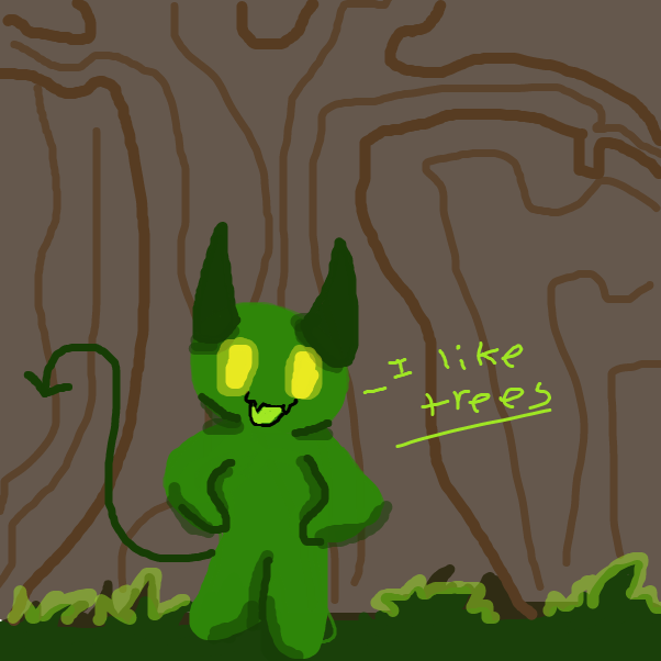 First panel in tree demon  drawn in our free online drawing game