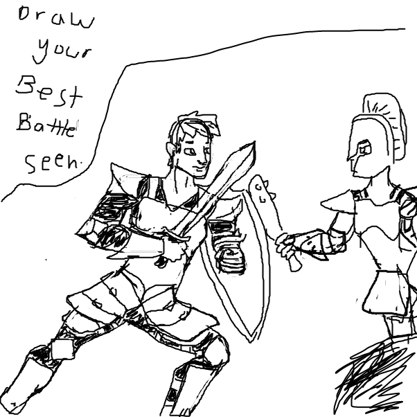 First panel in battle drawn in our free online drawing game