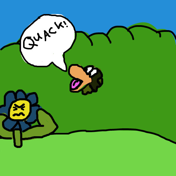 First panel in Duck beak in a bush drawn in our free online drawing game