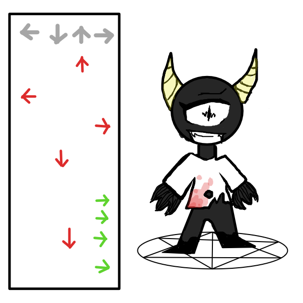 First panel in Demonic Dance Ritual drawn in our free online drawing game