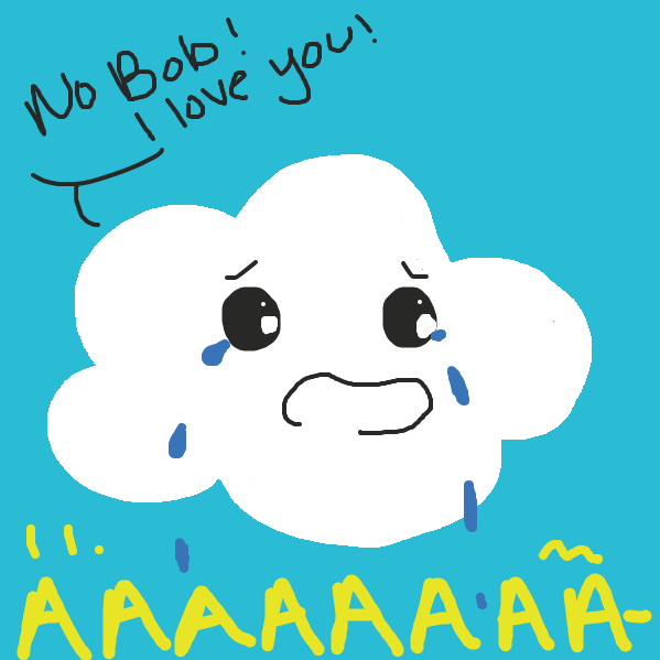 The first cloud is true about his feelings and tells Bob how he feels & it starts to rain.  - Online Drawing Game Comic Strip Panel by rockinashy
